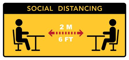 Keep a social distance in restaurants and cafes. Visitors ' tables are located at a safe distance. Vector illustration