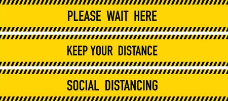 Keep your distance Yellow Warning Tape. Vector Illustration