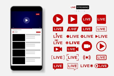 Video Player Template Design. Mockup live stream window, player. Social media concept. Vector illustration. EPS 10