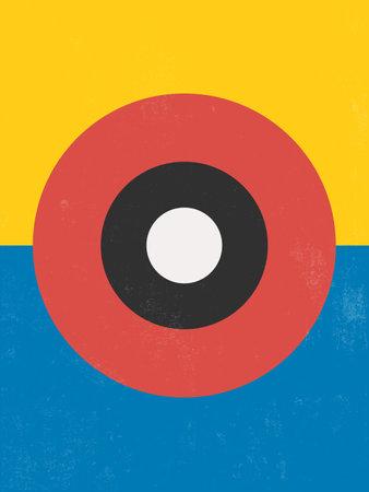 Modern Poster Art. Abstract Wall Art. Digital Interior Decoration Art with Grunge texture. Vector Illustration