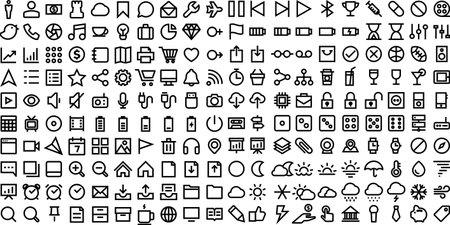 200 Thin Line Icons set.Illustration eps10