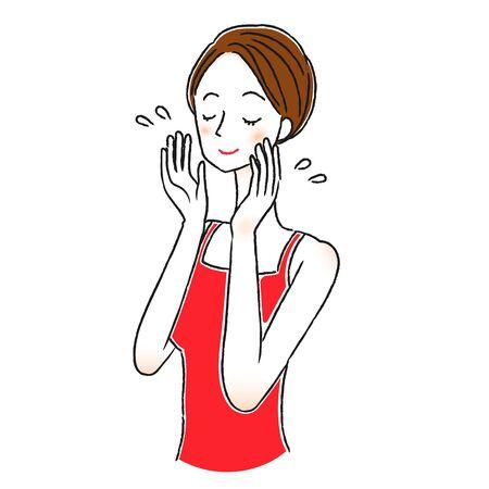 Illustration of a woman wearing lotion Vektorové ilustrace