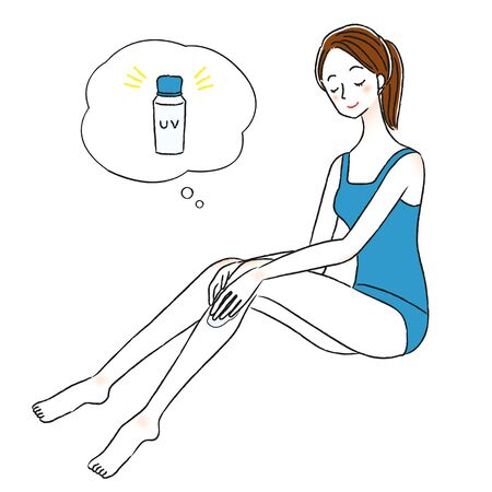 Illustration of a woman with sunscreen