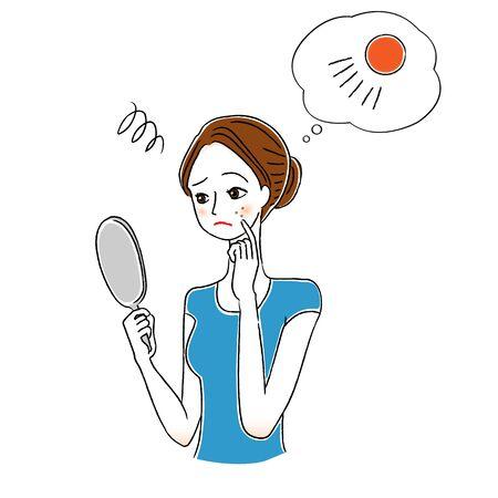 Women who considers UV care Illustration