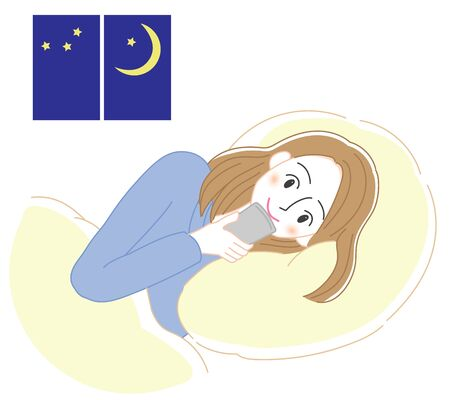 Illustration of a woman using a smartphone in bed