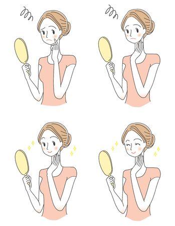 Illustration set of women who do skin care