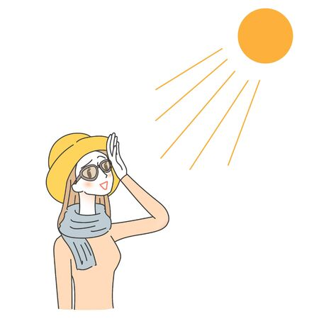 Illustration of women taking measures against ULTRAVIOLET rays