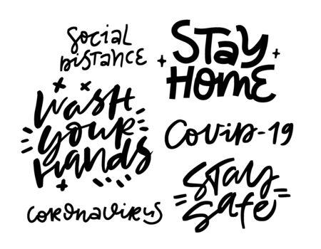 Lettering art. Coronavirus concept Vector Illustratie