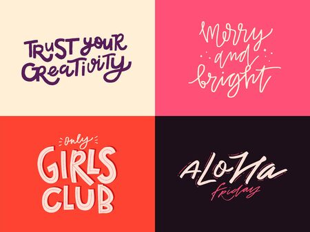 Set of inspirational quotes. Lettering design in different styles. Doodle trendy illustration with motivational phrases. Vector Illustratie