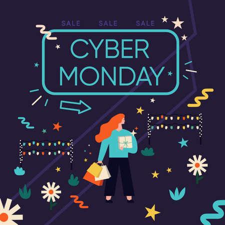 Cyber monday discount 向量圖像