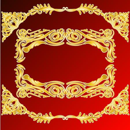 Vector decorative frame retro vector gold frame on red background. Premium design element Illustration