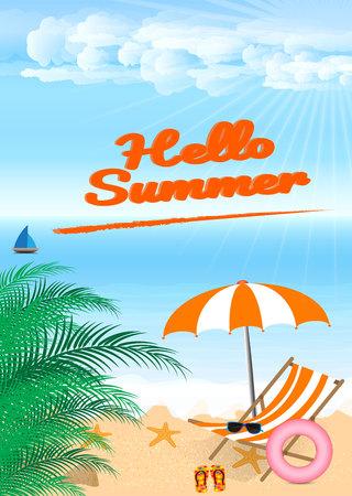 ビーチ パラソルと椅子と海岸で夏のビーチ ベクター デザイン 休日の