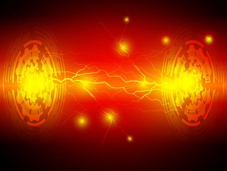 Lightning abstract vector technology red background Illustration