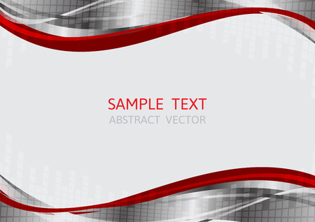 ine: silver and red wave vector background with copy space Illustration