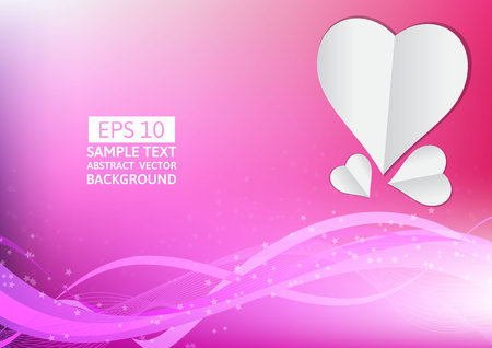 engagement party: Pink lines wave and heart abstract background with copy space Illustration