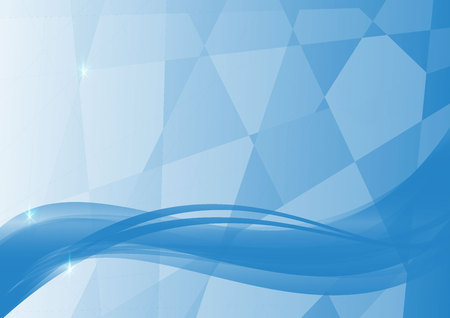 Blue wave and geometric abstract vector background