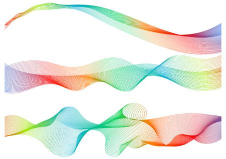 Set great rainbow waves colorful gradient line, vector illustration.