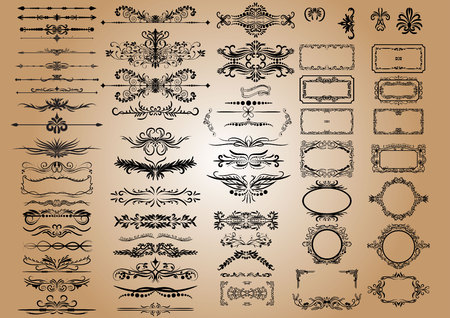 certificate template: Vector Vintage Decorations Elements. Flourishes Calligraphic Ornaments and Frames. retro Style Design Collection. Illustration