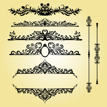 certificate template: Vintage Decorations Elements. Flourishes Calligraphic Ornaments and Frames. Retro Style Design