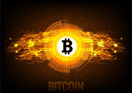 Bitcoin digitale valuta, futuristisch digitaal geld, technologie wereldwijd netwerkconcept, vectorillustratie