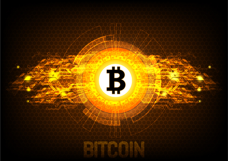 Bitcoin digital currency, futuristic digital money, technology worldwide network concept, vector illustration