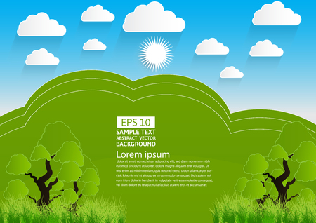 Green landscape, mountain with trees and clouds,Vector illustration. paper art style