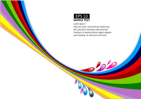 rainbow colors: A Vector multicolor line wave on white background.