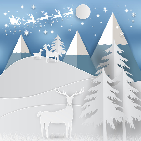 Winter holiday whit home and Santa Claus background. Christmas season. vector illustration paper art style