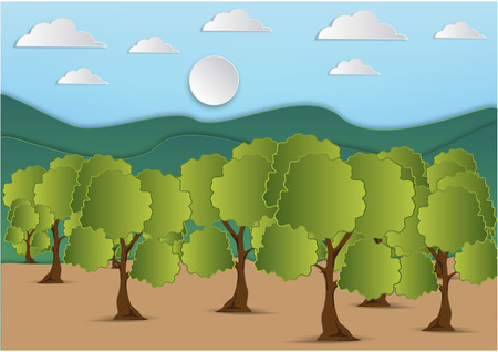 winter garden: Paper art of  mountain and tree with green leaf and the sky with clouds background,vector illustration