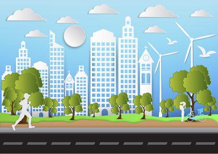 Paper art of city and park on green background with man is running. ecology idea, vector illustration
