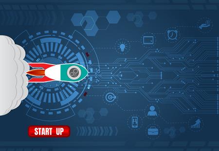 Rocket launch Startup, Digital technology and business concept. vector illustration background. Иллюстрация
