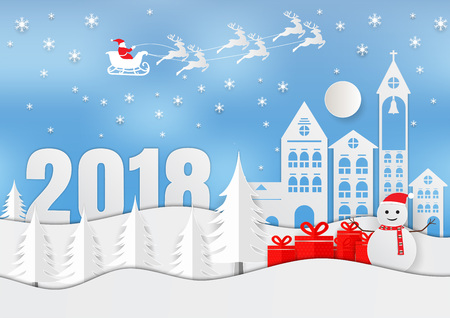 Vector illustration of Merry Christmas 2018 winter season with snow flake. paper art design.
