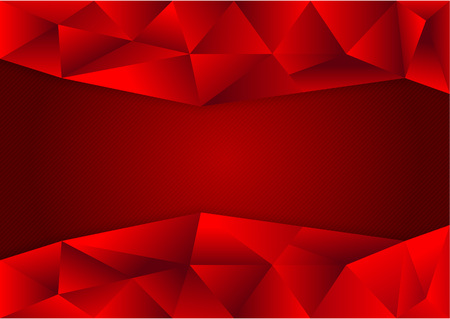 Red polygon vector background with copy space