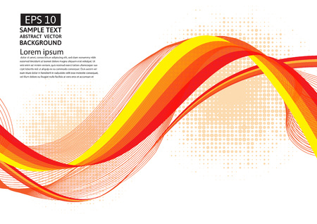 Orange line wave geometric abstract vector background
