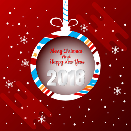 Christmas Ball Banner Design with Merry Christmas and Happy new year 2018.  Abstract vector illustration