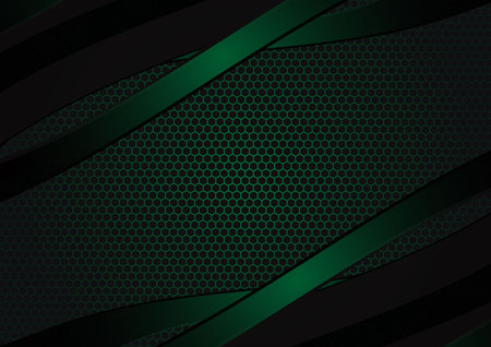 Black and green geometric abstract vector background with copy space modern design.