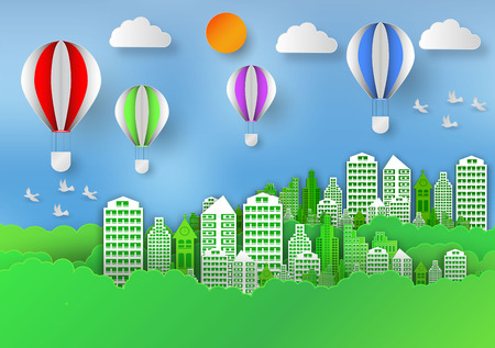 Paper art style of landscape with balloon in city to save the world and ecology idea. Abstract background, vector illustration. Illustration