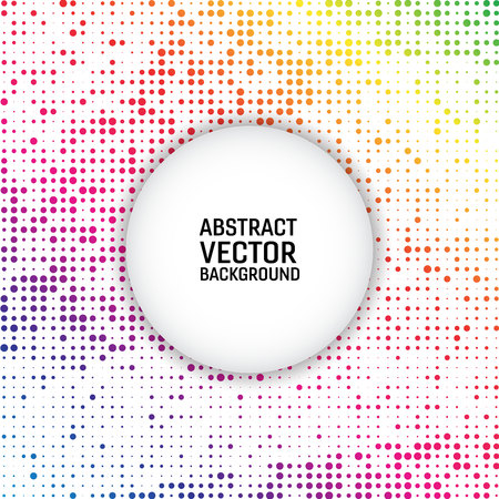 Rainbow color vector modern geometrical circle abstract background. Dotted texture template. Geometric pattern in halftone style Illustration