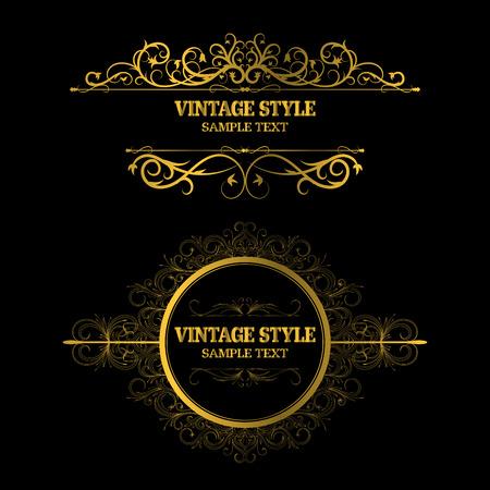 Vintage Decorations Elements and Frames Gold Color  イラスト・ベクター素材