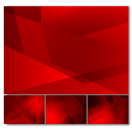 Set of red color geometric abstract vector background, Modern design