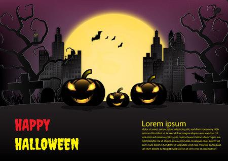 Halloween town background with pumpkin and full moon. Vector illustration Ilustração