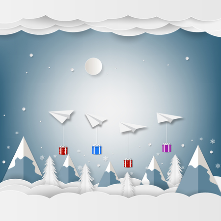 Airplane white floating and Gift Box in the sky with mountain and cloud. Paper and craft art
