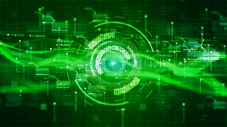 Hi-Tech HUD digital display holographic background. Motion graphics technology concept