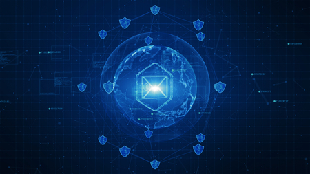 Icono de escudo y correo electrónico en red global segura, concepto de seguridad cibernética Foto de archivo