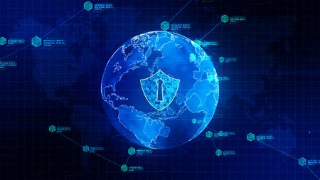 Icona scudo su rete globale sicura, rete tecnologica e concetto di sicurezza informatica. Protezione per le connessioni in tutto il mondo. Archivio Fotografico
