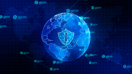 Shield icon on secure global network, Technology network and cyber security concept. Protection for worldwide connections. Stockfoto