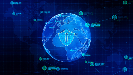 Shield icon on secure global network, Technology network and cyber security concept. Protection for worldwide connections Stockfoto