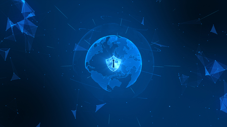 Shield icon on secure global network