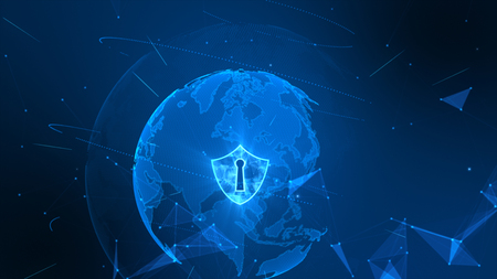 Shield icon on secure global network , Cyber security concept.