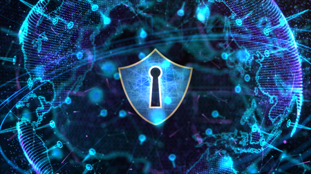 Shield Icon on Secure Global Network, Cyber Security and Protection of Personal Digital Data Concept. Standard-Bild - 121659652